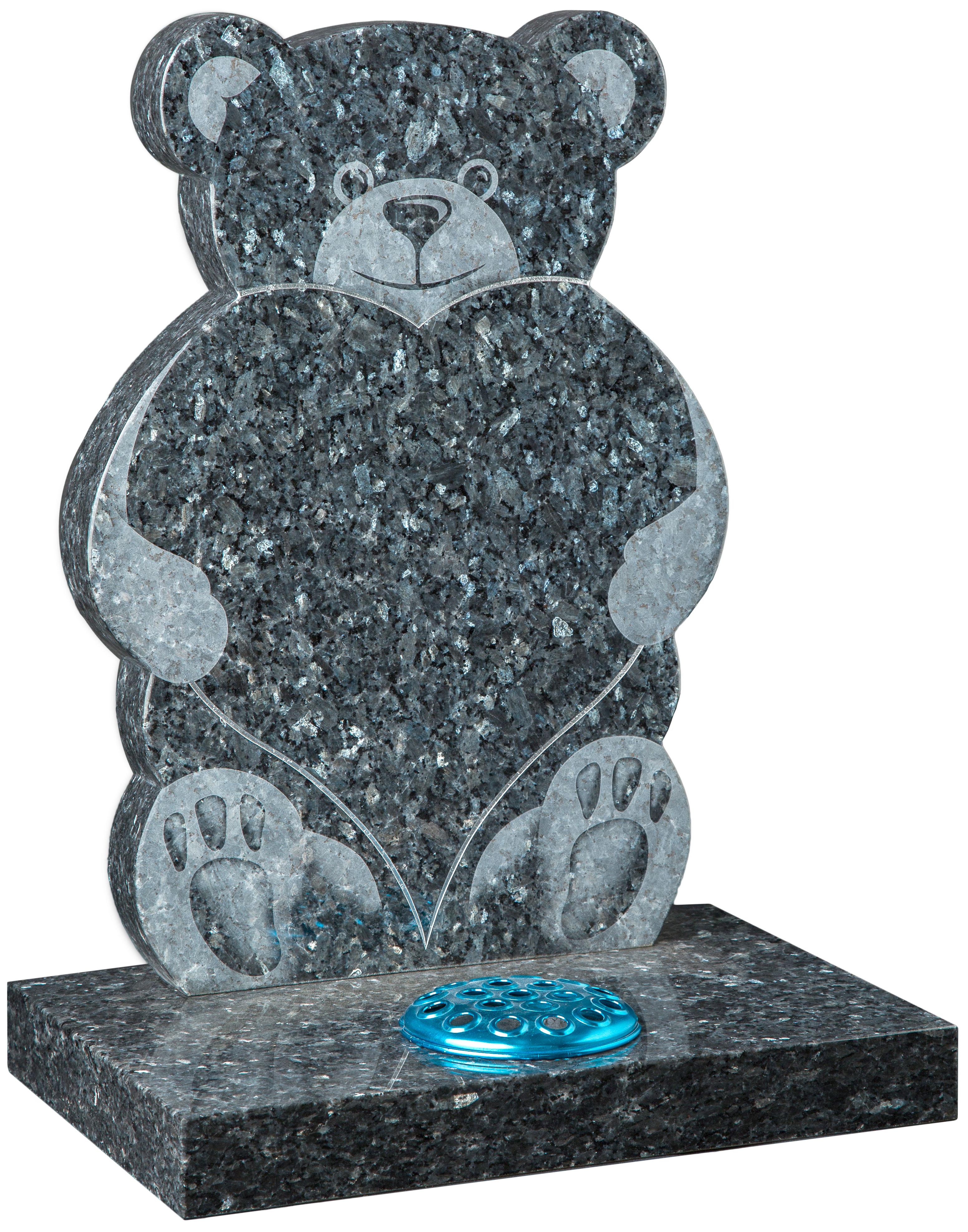 16182 Sandblast Teddy and Heart memorial
